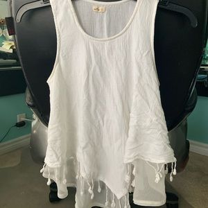 White floral and lace tank top